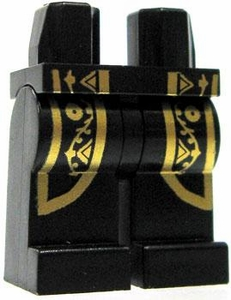 LEGO LOOSE Legs Black with Gold Trim