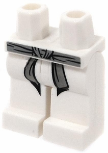LEGO LOOSE Legs White Hips and Legs with Gray Belt and Black Markings