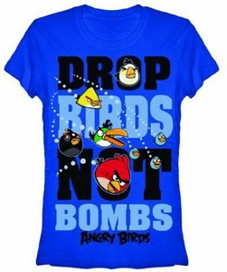 Angry Birds Women's Printed T-Shirt Drop Birds Not Bombs BLOWOUT SALE!