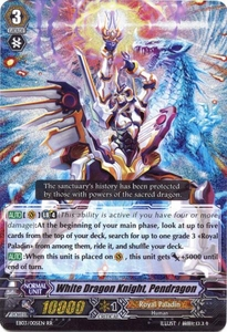 Cardfight Vanguard ENGLISH Cavalry of Black Steel Single Card RR Rare EB03-005EN White Dragon Knight, Pendragon