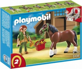 Playmobil Collectible Horses Set #5108 Shire Horse with Groomer and Stable