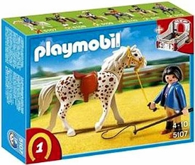 Playmobil Collectible Horses Set #5107 Knabstrupper Horse with Trainer and Stable