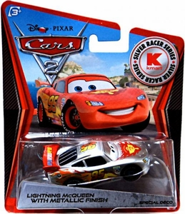Disney / Pixar CARS 2 Movie Exclusive 1:55 Die Cast Car Silver Racer Lightning McQueen
