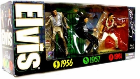 McFarlane Toys Elvis Presley Exclusive Action Figure 3-Pack 1956 Gold Suit, 1957 Jail House Rock & 1961 Blue Hawaii