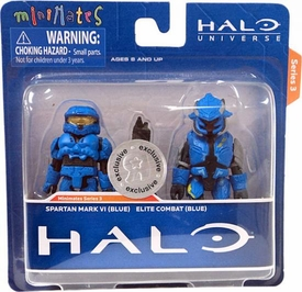 Halo Minimates Exclusive Series 3 Mini Figure 2-Pack Spartan Mark VI (Blue) & Elite Combat (Blue)