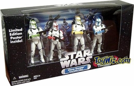 Star Wars Exclusive Clone Trooper Army Builder Command Troopers Battle Damaged 4-Pack