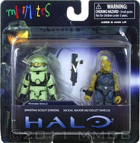 Halo Minimates Mini Figure 2-Pack Spartan Scout [Green] & Jackal Major [with Violet Shield]