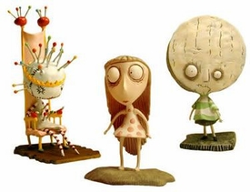 Tim Burton's Tragic Toys for Girls and Boys PVC Set #4 Pin Cushion Queen, Brie Boy & Staring Girl