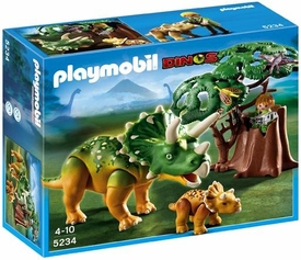 Playmobil Dinos Set #5234 Explorer & Triceratops with Baby