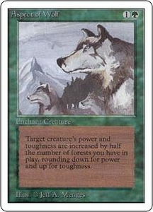 Magic the Gathering Unlimited Edition Single Card Rare Aspect of Wolf Slightly Played Condition