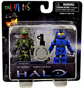 Halo Minimates Series 1 Exclusive Mini Figure 2-Pack Sgt. Johnson & Spartan CQB [Blue]