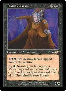 Magic the Gathering Nemesis Single Card Rare #67 Rathi Assassin Played Condition Not Mint