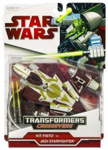 Star Wars 2009 Transformers Kit Fisto to Jedi Delta-7 Starfighter