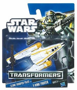 Star Wars 2012 Class I Transformers Crossovers Clone Trooper Pilot to Y-Wing Fighter