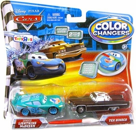 Disney / Pixar CARS Movie 1:55 Color Changers 2-Pack Dinoco Lightning McQueen & Tex Dinoco