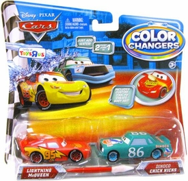 Disney / Pixar CARS Movie 1:55 Color Changers 2-Pack Lightning McQueen & Dinoco Chick Hicks