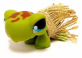 Littlest Pet Shop LOOSE Figure #393 Hawaiian Turtle with Hula Skirt