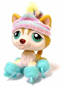 Littlest Pet Shop LOOSE Figure #386 Brown Huskey with Ice Skates