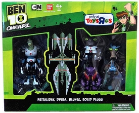 Ben 10 Omniverse Exclusive Action Figure 4-Pack Pettaliday, Driba, Blukic & Solid Plugg