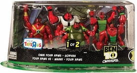 Ben 10 Exclusive Action Figure 5-Pack Omni Four Arms, Gorvan, Four Arms V2, Manny & Four Arms [Set 1 of 2]