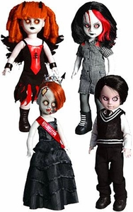 Mezco Toyz Living Dead Dolls 2011 SDCC San Diego Comic Con Exclusive Set of 4 Resurrection V 13th Anniversary Figures [Penny, Deadbra Ann, Damien & Inferno]