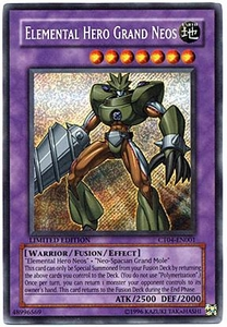 YuGiOh 2007 Tin Promo Card Secret Rare Single Card CT04-EN001 Elemental Hero Grand Neos