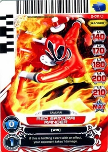 Power Rangers Action Card Game Guardians of Justice Single Card Common 2-011 Red Samurai Ranger