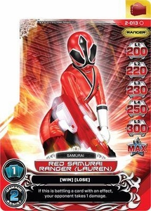 Power Rangers Action Card Game Guardians of Justice Single Card Common 2-013 Red Samurai Ranger (Lauren)