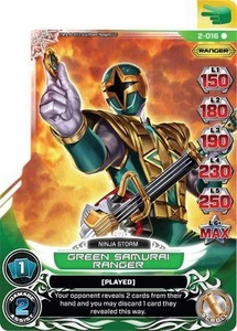 Power Rangers Action Card Game Guardians of Justice Single Card Rare 2-016 Green Samurai Ranger