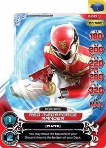 Power Rangers Action Card Game Guardians of Justice Single Card Common 2-021 Red Megaforce Ranger