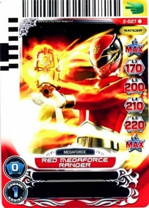 Power Rangers Action Card Game Guardians of Justice Single Card Rare 2-027 Red Megaforce Ranger