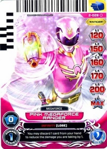 Power Rangers Action Card Game Guardians of Justice Single Card Common 2-028 Pink Megaforce Ranger