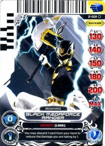 Power Rangers Action Card Game Guardians of Justice Single Card Common 2-031 Black Megaforce Ranger