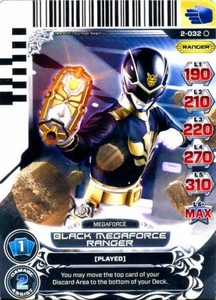 Power Rangers Action Card Game Guardians of Justice Single Card Common 2-032 Black Megaforce Ranger