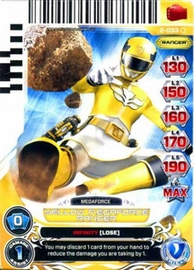 Power Rangers Action Card Game Guardians of Justice Single Card Common 2-033 Yellow Megaforce Ranger