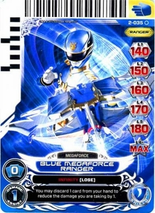Power Rangers Action Card Game Guardians of Justice Single Card Common 2-035 Blue Megaforce Ranger