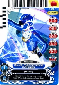 Power Rangers Action Card Game Guardians of Justice Single Card Common 2-037 Blue Megaforce Ranger