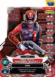 Power Rangers Action Card Game Guardians of Justice Single Card Common 2-058 Red S.P.D. Ranger (S.W.A.T.)