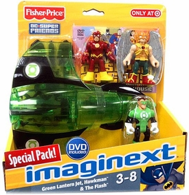 Imaginext DC Super Friends Exclusive Vehicle, DVD & Figure Special Pack [Green Lantern Jet, Hawkman & Flash]