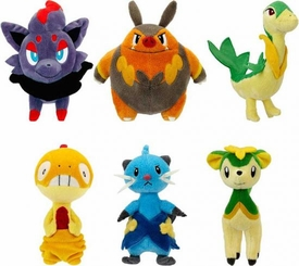Pokemon Black & White Series 3 Set of 6 Mini Plush [Scraggy, Green Deerling {Summer Form}, Zorua, Servine, Pignite & Dewott]
