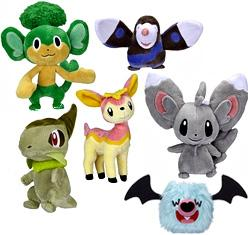 Pokemon Black & White Series 2 Set of 6 Mini Plush [Axew, Pansage, Drilbur, Pink Deerling {Spring Form}, Woobat & Minccino]