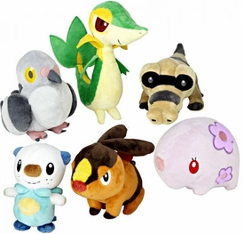 Pokemon Black & White Series 1 Set of 6 Mini Plush [Snivy, Oshawott, Sandile, Munna, Tepig & Pidove]