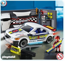 Playmobil Police Set #4365 Car Repair Shop and Race Car with Headlights