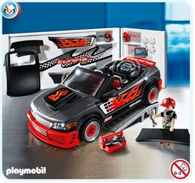Playmobil Police Set #4366 Car Repair Shop and Sports Car with Sound