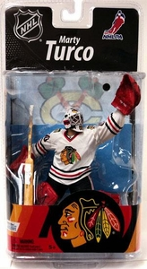 McFarlane Toys NHL Sports Picks Series 27 Action Figure Marty Turco (Chicago Blackhawks) White Jersey Silver Collector Level Chase Only 750 Made!