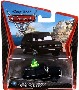 Disney / Pixar CARS 2 Movie Exclusive 1:55 Die Cast Car #48 Alexander Hugo with Party Hat