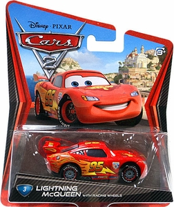 Disney / Pixar CARS 2 Movie 1:55 Die Cast Car #3 Lightning McQueen with Racing Wheels