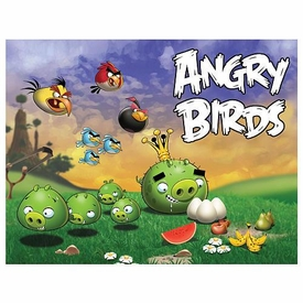 Mattel Angry Birds 24 Piece Puzzle Scene #2 Pigs Going After Eggs