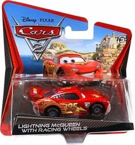 Disney / Pixar CARS 2 Movie 1:55 Die Cast Checkout Lane Package Lightning McQueen with Racing Wheels