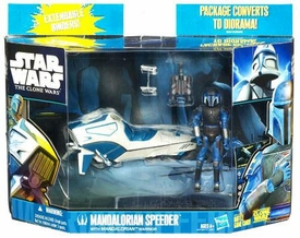 Star Wars 2010 Clone Wars Vehicle & Action Figure Pack Mandalorian Speeder with Mandalorian Warrior